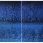 Políptico Más allá de la luz 3, Acrílico sobre tela,150x48 cm c/u, 2017.